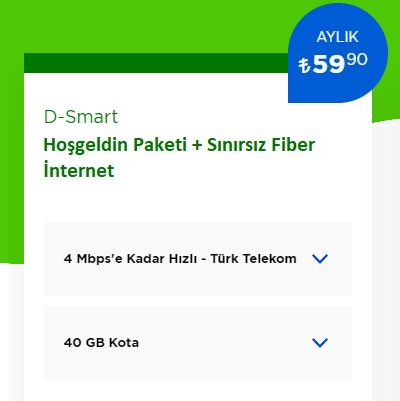 4 Mbps İnternet+D-Smart TV Hoşgeldin Paketi