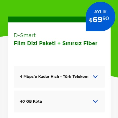 4 Mbps İnternet+ D-Smart TV Film Dizi Paketi
