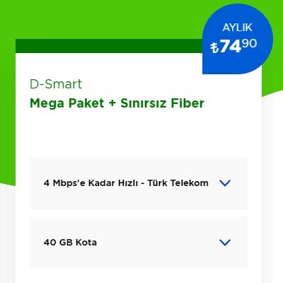 4 Mbps İnternet+ D-Smart TV Mega Paket