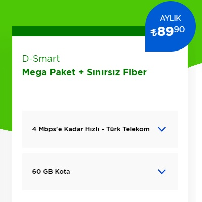 4 Mbps İnternet+ D-Smart TV Mega Paket