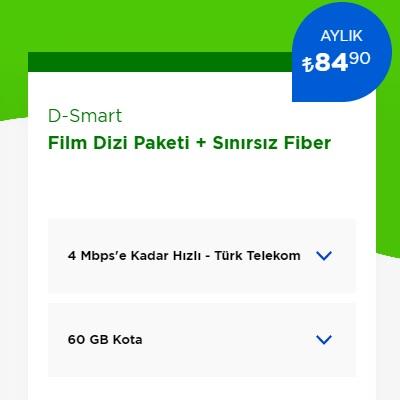 4 Mbps İnternet+ D-Smart TV Film Dizi Paketi