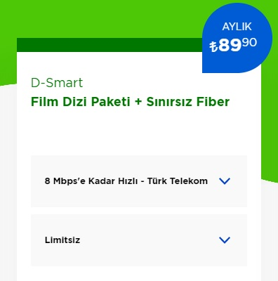 8 Mbps İnternet+ D-Smart TV Film Dizi Paketi