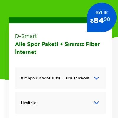 8 Mbps İnternet+ D-Smart TV Aile Spor Paketi