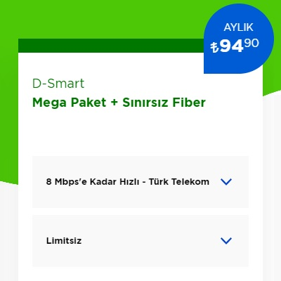 8 Mbps İnternet+ D-Smart TV Mega Paket