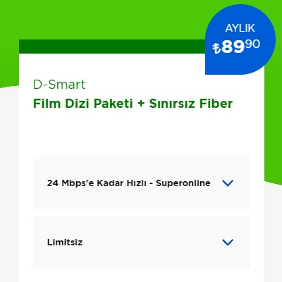 24 Mbps İnternet+ D-Smart TV Film Dizi Paketi
