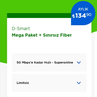 50 Mbps İnternet+ D-Smart TV Mega Paket