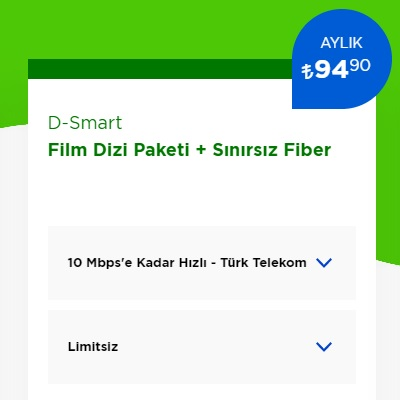 10 Mbps İnternet+ D-Smart TV Film Dizi Paketi