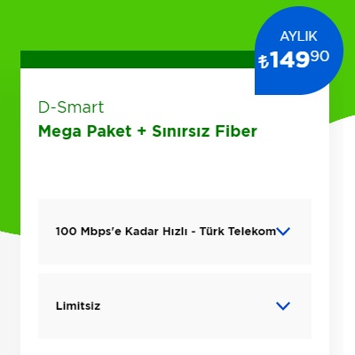 100 Mbps İnternet+ D-Smart TV Mega Paket